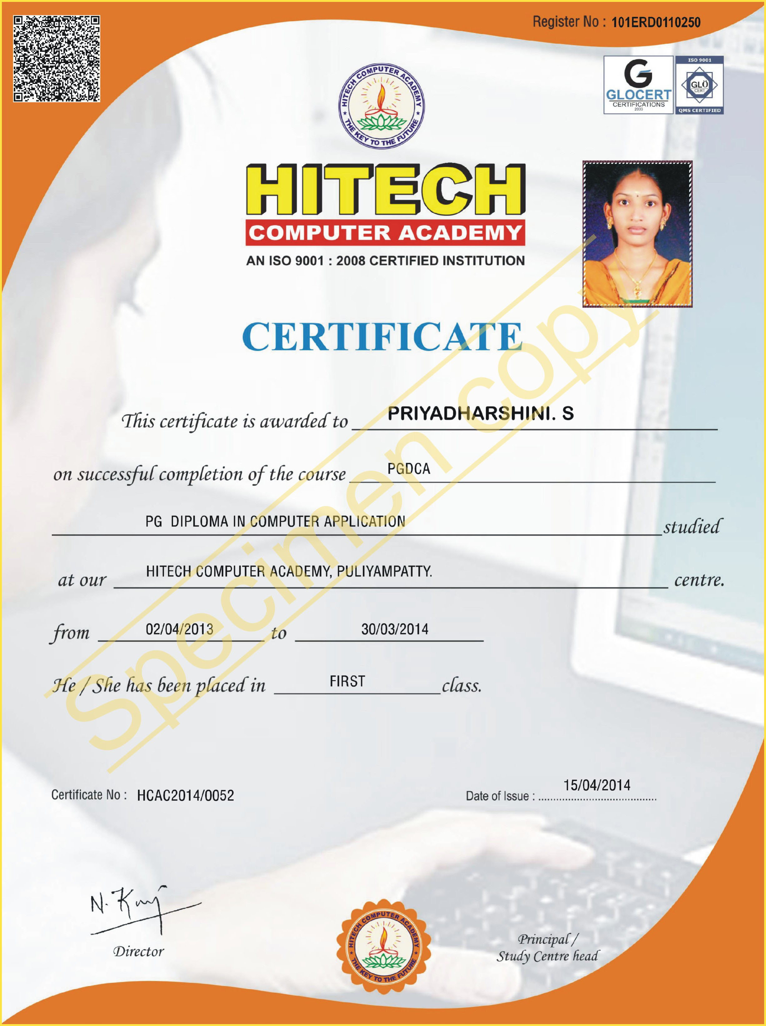 Hitech computer academy sample certificates yadclub Gallery